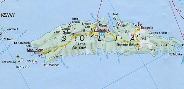Map of solta island croatia